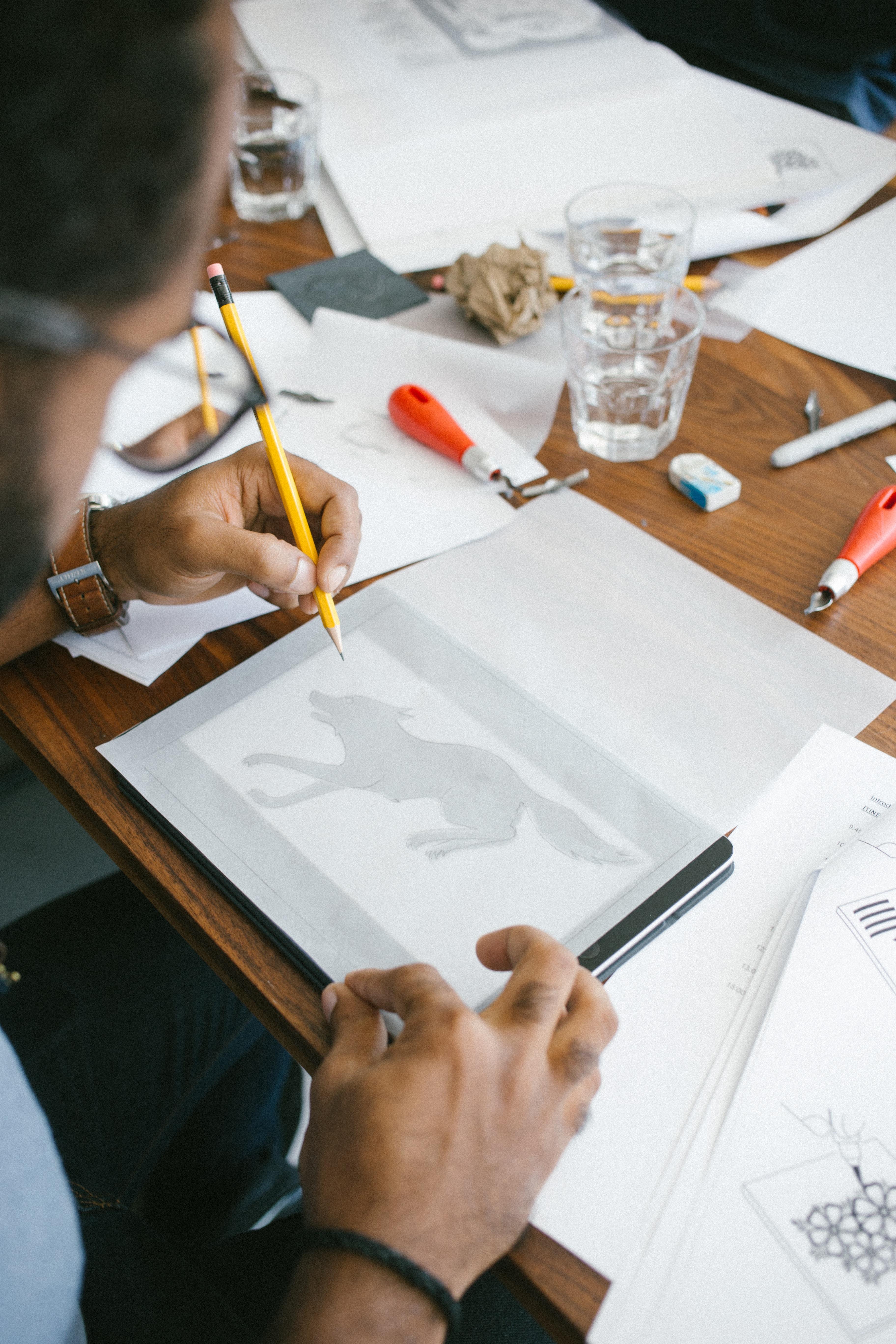Tekenen met overtrekpapier
